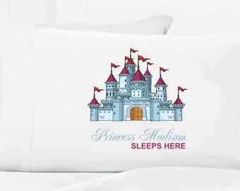 Girls Personalized Princess Castle Pillow Case Girls Princess Pillowcase