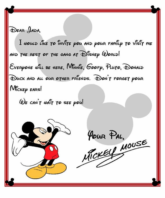 Custom Disney World Letter From Mickey Invitation To