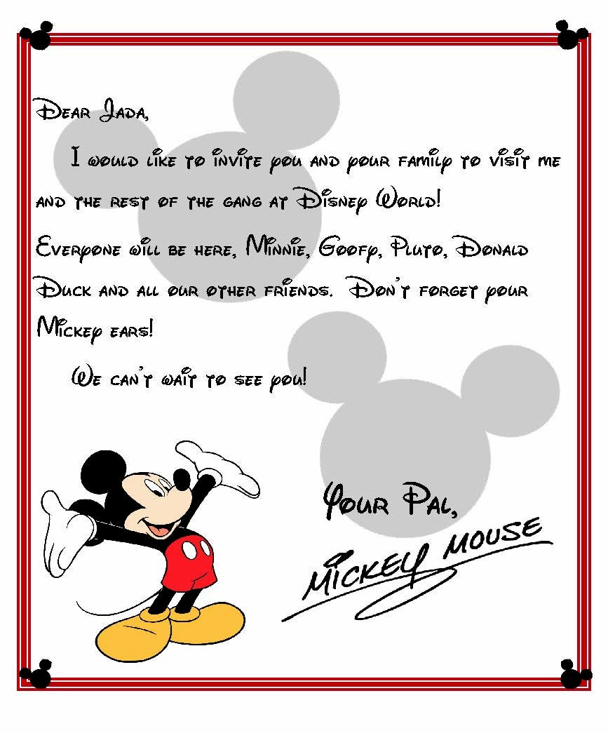 custom disney world letter from mickey invitation to disney world from southernpridedecals on. Black Bedroom Furniture Sets. Home Design Ideas