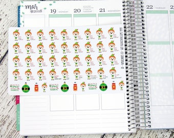 Elf Countdown Planner Stickers - Santa's Coming, I know Him Stickers - Christmas Countdown Stickers - Holiday Stickers - Elf Stickers - 125