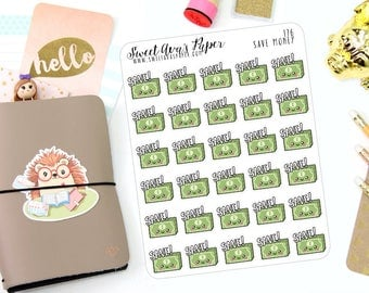 Money Planner Stickers - Save Money Stickers - No Spend Stickers - Kawaii Stickers - Fits Most Planners - Dollar Bill Stickers - 176