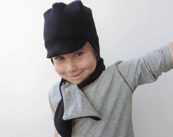 Toddler Neck Warmer, Black And Grey Scarf, Kids Neck Warmer, Girls Boys Children Scarf, Fleece Scarf, Reversible Scarf - By PetitWild