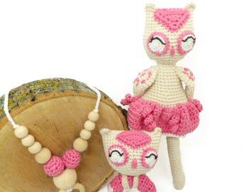 cadeau naissance/ cadeau de naissance fait main /jouet bébé / ensemble bébé / cadeau bébé / hochet fait main/ collier de portage