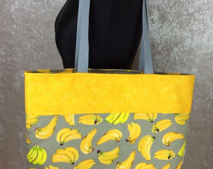 It's Bananas Day Bag Tote fabric handbag shoulder bag purse Handmade in England