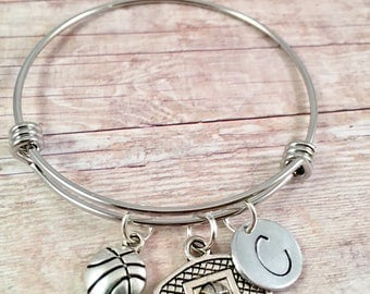 Basketball Hoop Bracelet,  Basketball Hoop Bangle,  Basketball Hoop Charm,  Sport Bangle,  Basketball Coach Gift,  Initial Charm, Team Sport