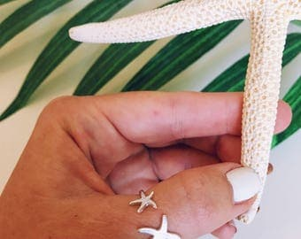 Starfish Ring- Adjustable, Dainty, Boho Silver gold, bronze, tropical ring, ocean ring, pineapple ring, starfish accessory