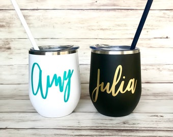 Bridesmaid Wine Tumbler with Straw- Rose Gold, Steel Wine Glass Tumbler, Bride Gift, Bridesmaid Gift, Bachelorette Party Favor