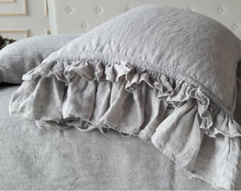 100% Frill Linen Pillow Sham Stone Washed Organic Pillowcase with ruffles Linen Pillow Sham Standard Queen King Euro size Pre Washed linen
