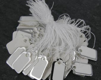 100 White SWING TAGS Silver Edge White Oblong Jewellery Pricing 22 x 13mm