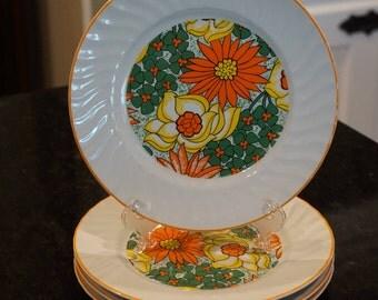 Set of 4 Vintage  Mod Dessert Plates/ Flower Power/ Orange Yellow and Green/ Kitschy Kitchen