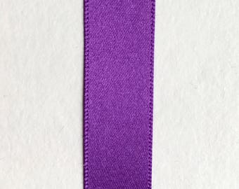 20 Metre Roll x 15mm Width Berisfords Double Faced Satin Ribbon - 19 Purple