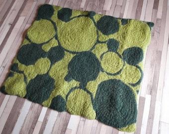 SALE 25% OFF - Felted Wool Rug, Reversible area rug, Wool rug, Yoga | Meditation Mat, Boho decor, Hippie decor
