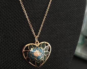 Heart Necklace, Cloisonne pendant, blue cloisonne pendant, heart pendant,  cloisonné pendants, vintage cloisonné jewelry,  N333