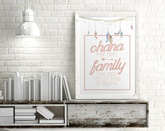 Ohana Means Family *A3 digital print file* Inspirational Printable Dreamcatcher Poster