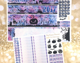October Halloween monthly view spread - for BIG HAPPY PLANNER mambi sticker - fall autumn