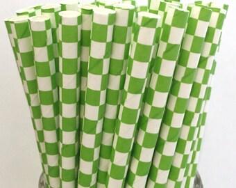 2.85 US Shipping -Green Paper Straws - Checkered Paper Straws - Green Straws - Cake Pop Sticks - Drinking Straws