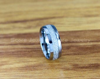 FREE SHIPPING Custom Engraved 8mm Silver Tungsten Meteorite Wedding Band Tungsten Meteorite Ring with Imitation Meteorite Texture Inlay