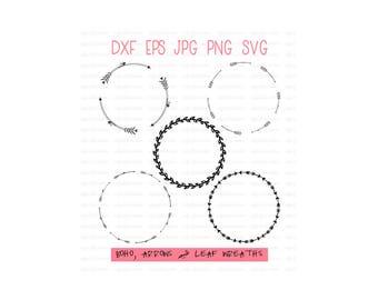 BOHO SVG WREATH, Digital Cut File, Arrow, Floral, Tribal, Laurel, wedding gift, wedding favors, Instant Download xf eps jpg png svg