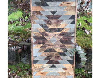 Rustic Tribal Aztec Print Wood Wall Art