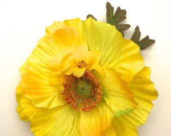 Handmade Vibrant Yellow Poppy Hair flower Clip