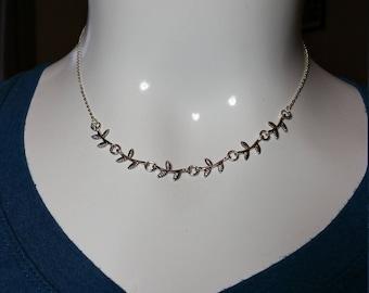 "Silver Leaf Necklace,  17 1/2"""