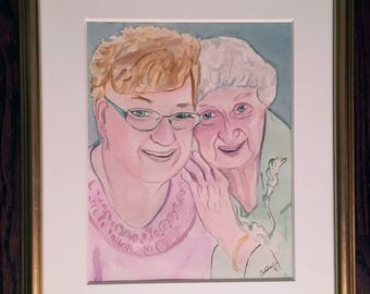 Commission watercolor portrait from a photo. Great for gifts, birthday, anniversaries, real estate closing gift, new house, vacation home.