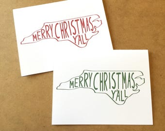 North Carolina Christmas Card, North Carolina Greeting Card, Southern Christmas Card, North Carolina Gift, North Carolina Map, Y'all Card