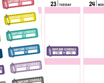 Daycare Schedule Planner Stickers, Daycare Stickers, Childcare Stickers, Daycare Planner Stickers