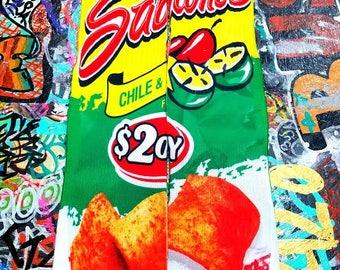Sabritones Socks, Chile & Lime, Mid Calf Socks, Mexican Chips