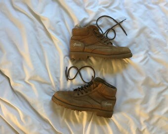 90s GUESS Tan Leather Lace Up Boots