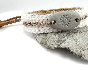Leather bracelet with hand engraved Baltic beach stone. Crochet bracelet with symbol of purity in our minds and hearts. Talisman for mind.