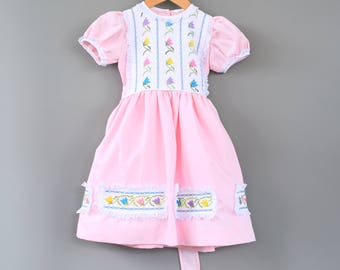 Vintage Embroidered Girls Mexican Dress