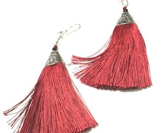 Tassel Earrings Long Cherry Red, On Trend Earrings, Silver Tassel Earrings, Stylish Earrings, On Trend Gift, Stylish Gift, On Trend Style