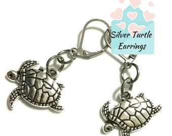 Turtle Earrings, Antique Silver Turtle Earrings, Gift for Her, Souvenir Turtle Earrings, On Trend Stylish Earrings, Turtle Earring Gift