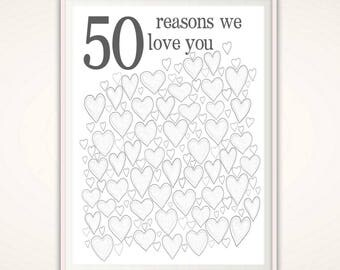 50th Birthday Gift for Men - 50th Anniversary Gifts, 50th Birthday Party Decorations, Gifts for Husband, 50th Birthday Poster, PRINTABLE DIY