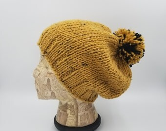 Pom Pom Beanie, Hand Knit Hat, Winter Hat, Hat for Women, Hat for Men, Acrylic Hat, Wool Hat, Bobble Hat, Mustard Beanie, Slouchy Beanie