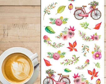 Autumn Leaves and Bicycles Planner Stickers | Limited Release | Mystery Grab Bag May 2016 | Watercolour Stickers (MGB-MAY16)