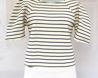 Navy blue and ivory striped sweater - navy blue and ivory striped woman top - sailor striped women top - Handmade - Made in France