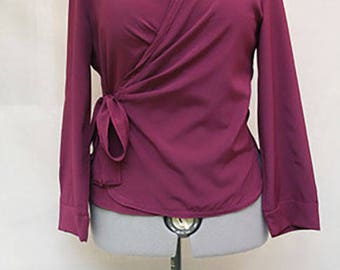 Wrapped garnet red blouse - wrapped purple crepe fabric women top - wrapped violet crpe fabric women top - Hand made - Made in France
