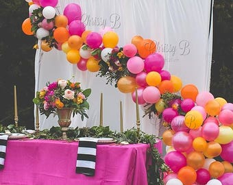 Balloon Garland DIY Kit - Kate Spade Inspired Color Scheme - Makes a Full 12 Foot Garland - Pinks, Oranges and Golds
