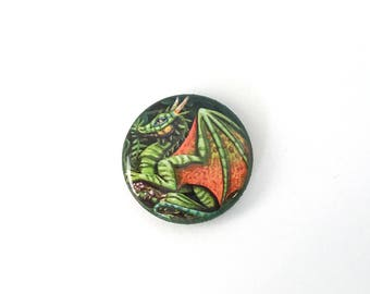 Glossy Dragon Button Pin Plastic Coated