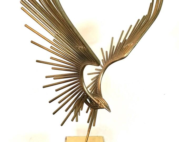 Mid Century Modern CURTIS JERE Brutalist Eagle Sculpture Marble Base