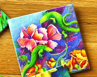 Ceramic Coaster - Lizards