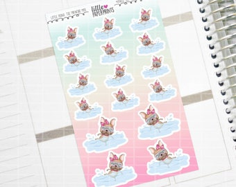 """Little Fiona, The Frenchie Mix - """"JUST KEEP on SWIMMING"""" Series Stickers - Decorative Planner Stickers"""