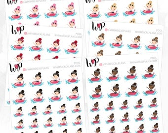 Pool Vacation Cocktail Girl | Matte Glossy Planner Stickers