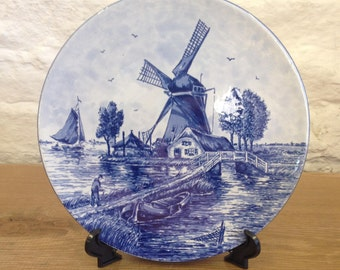 Vintage Blue and White Dutch Delft Bleuw Windmill and Canal Plate design - Very Good Condition.