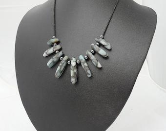 Sea Jasper, Hematite and Obsidian Necklace