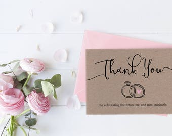 Rustic Thank You Cards, Engagement Thank Yous, Printable Thank You, Kraft Paper Invite, Bridal Shower Thank You, Instant Download