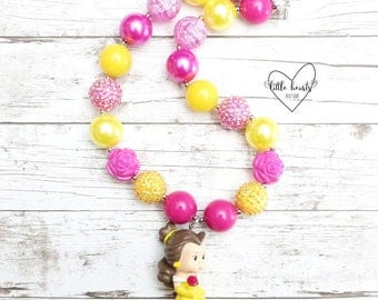 Belle, Beauty and the Beast, Disney, Belle Necklace, Chunky Necklace, Bubblegum Necklace