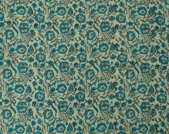 """Light Green Fabric, Hand Floral Block Print, Designer Fabric, Home Decoration, 45"""" Inch Cotton Fabric By The Yard ZBC8188B"""
